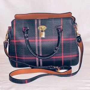 NWOT London Fog Plaid Kate Satchel Handbag